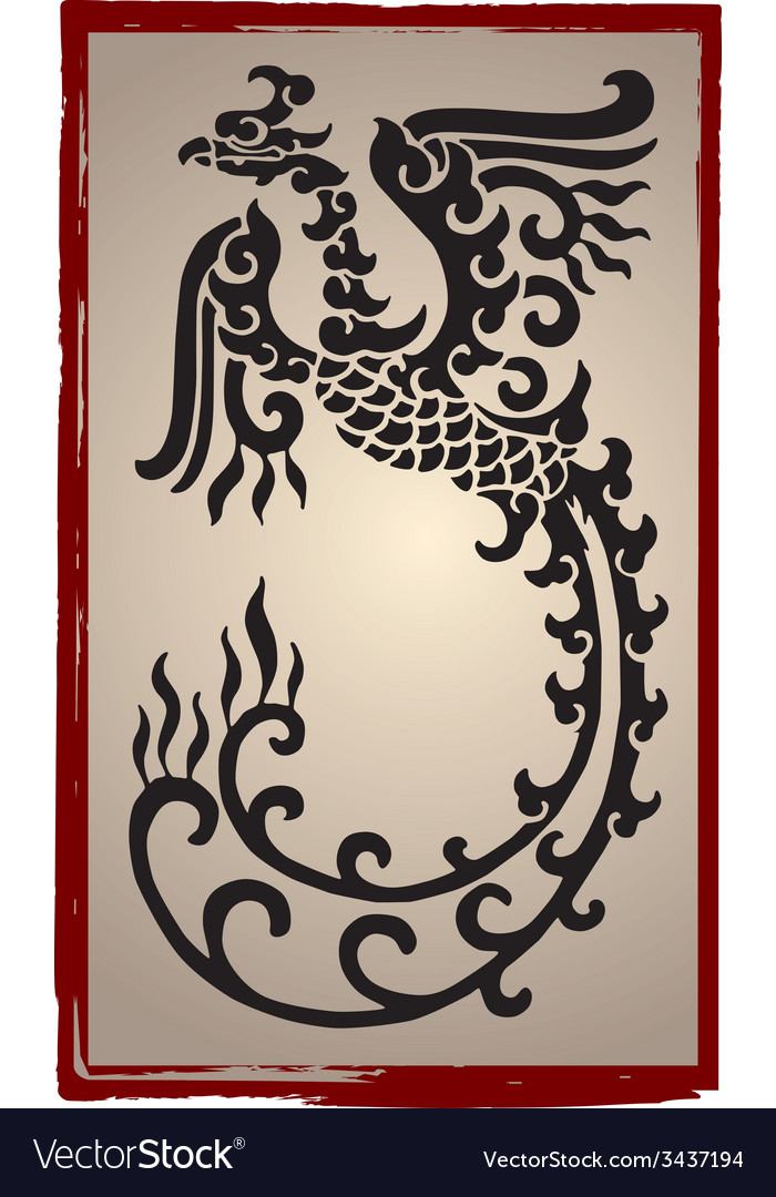 Chinese dragons silhouette - tattoo vector | Price: 1 Credit (USD $1)