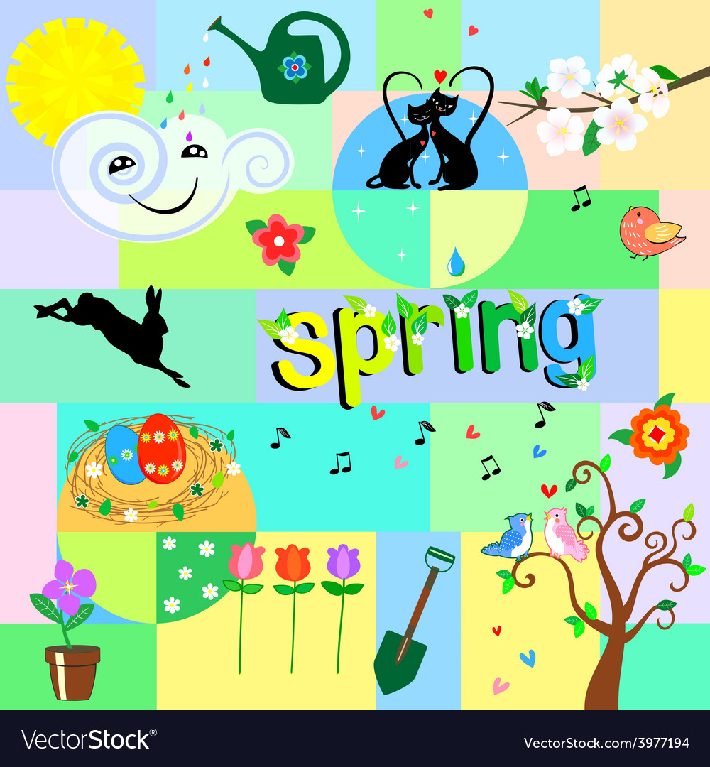 Funny spring background vector | Price: 1 Credit (USD $1)