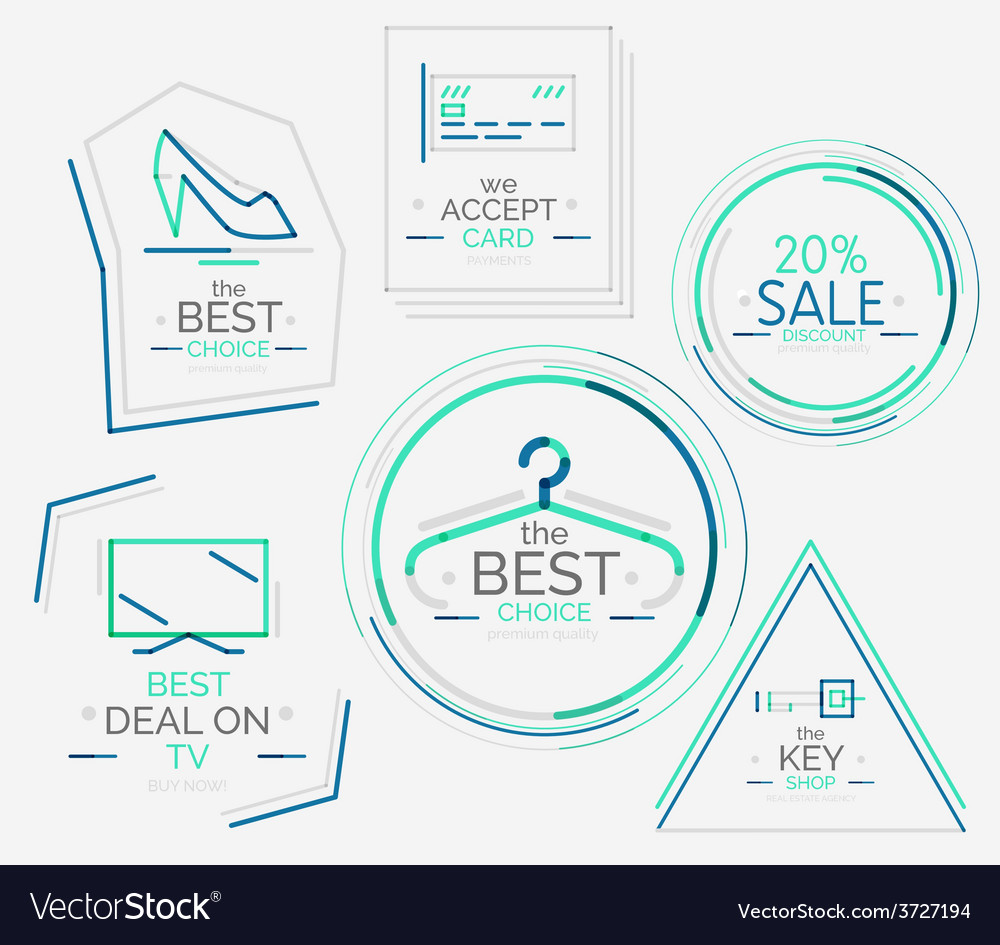 Minimal line design shopping stamps vector | Price: 1 Credit (USD $1)