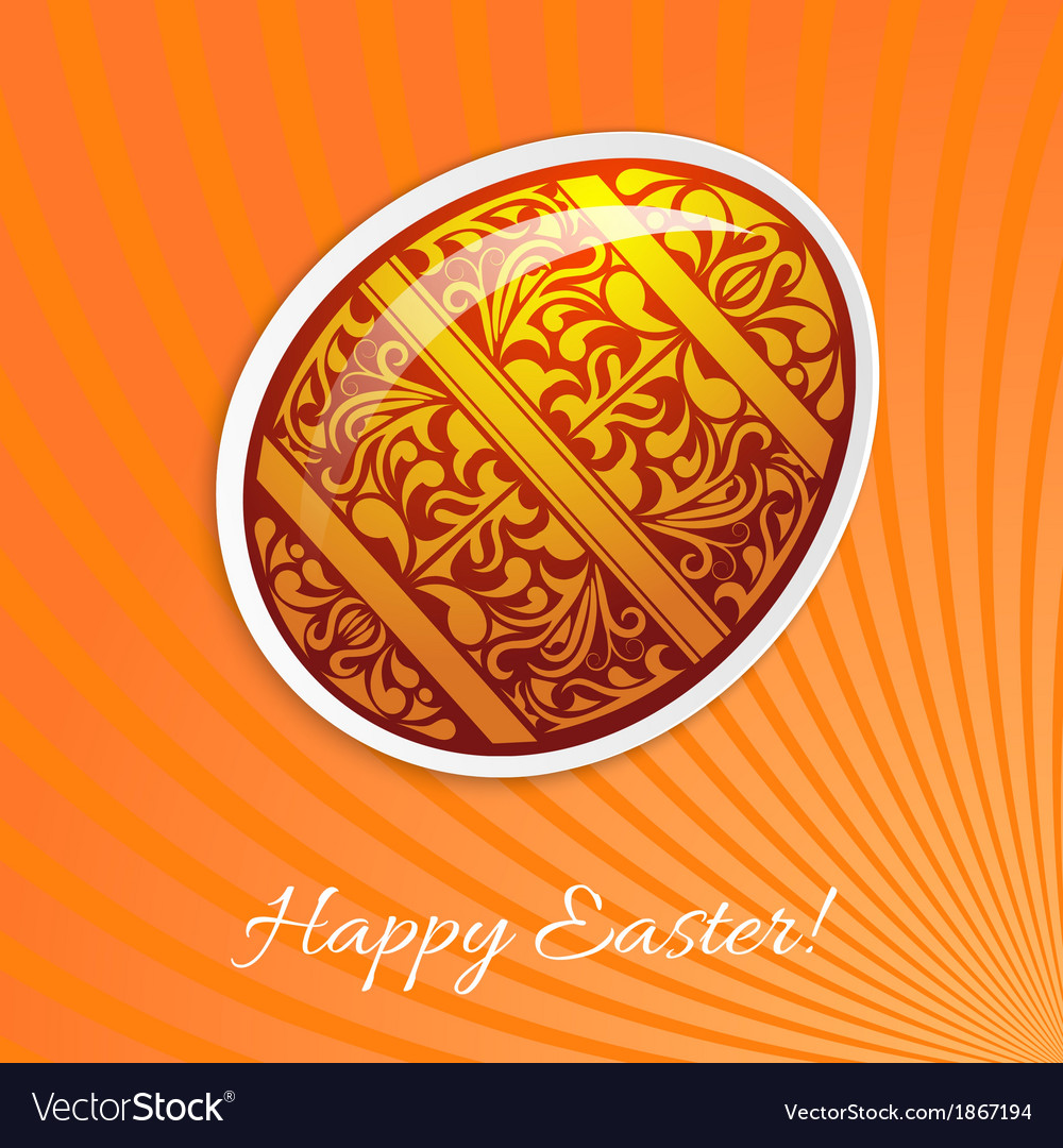 Orange background with a paper easter egg and rays vector | Price: 1 Credit (USD $1)