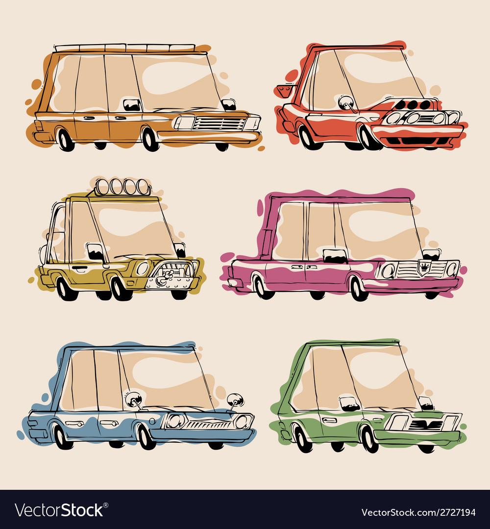 Retro cartoon cars set vector | Price: 1 Credit (USD $1)