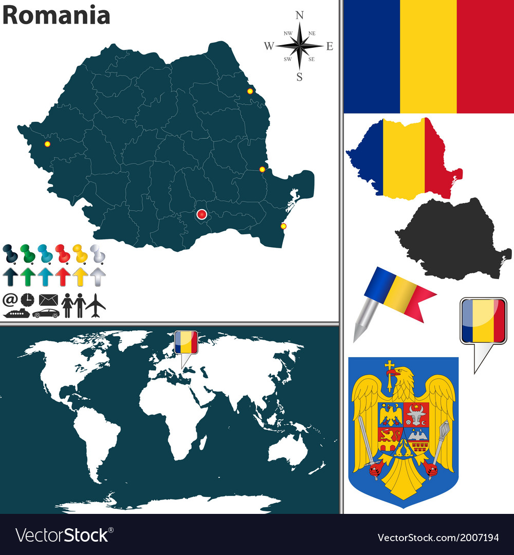 Romania map world vector | Price: 1 Credit (USD $1)