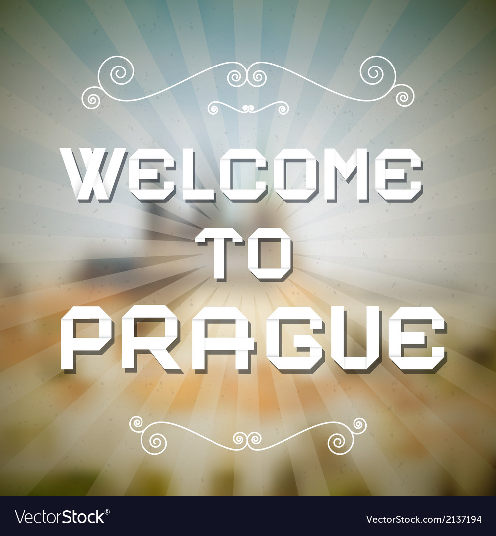 Welcome to prague paper title on retro background vector   Price: 1 Credit (USD $1)