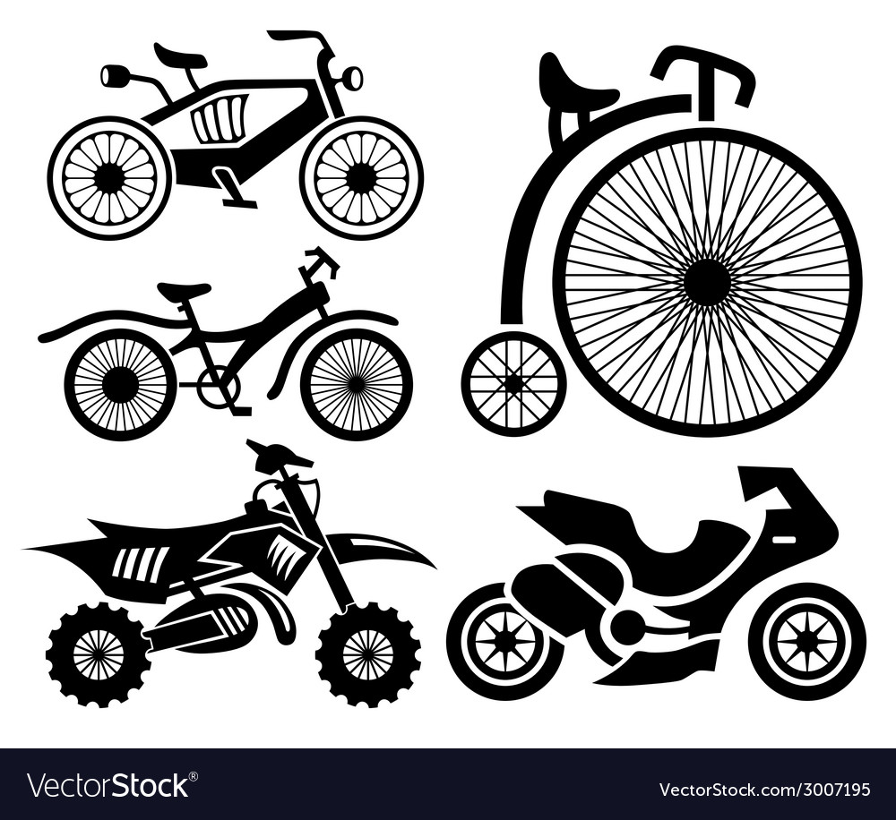 Bicycle and motorbike icons collection vector | Price: 1 Credit (USD $1)