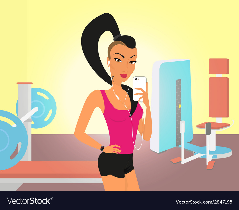 Brunette woman doing selfie in the gym vector | Price: 1 Credit (USD $1)