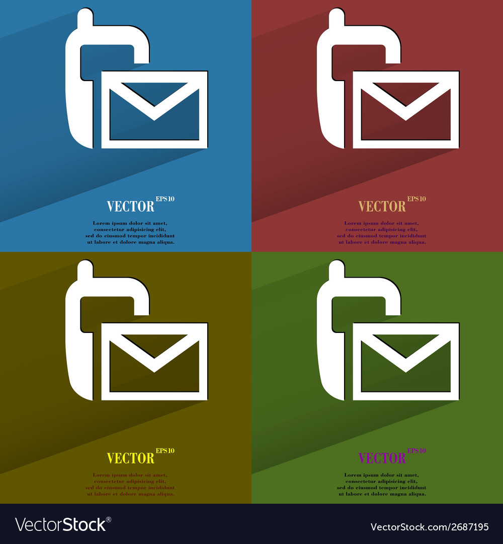 Color set sms flat modern web button with long vector   Price: 1 Credit (USD $1)