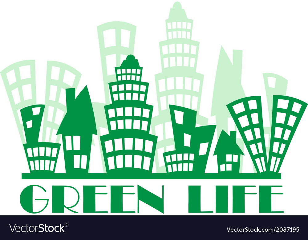 Green town vector | Price: 1 Credit (USD $1)
