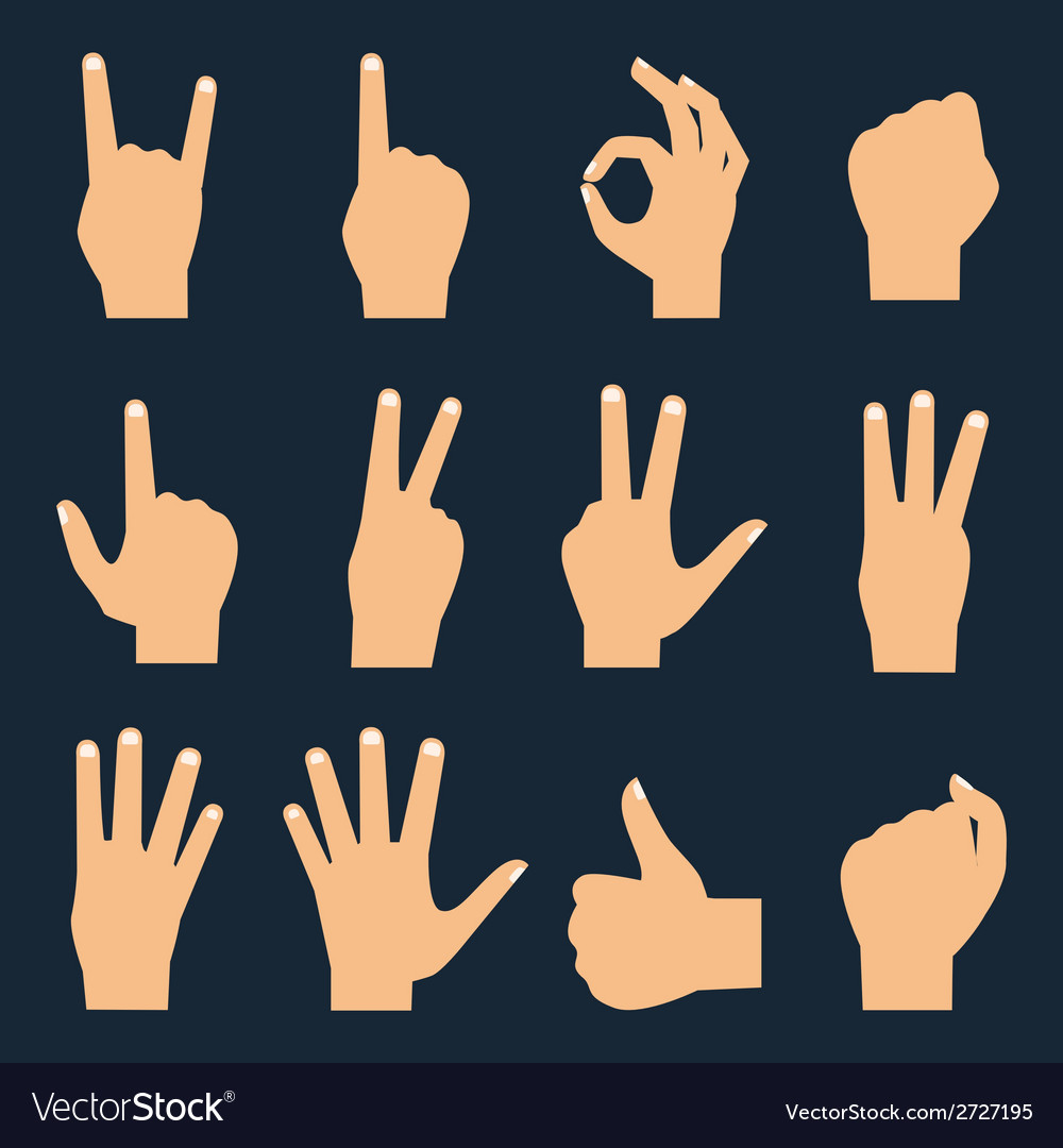 Hands flat icons set vector | Price: 1 Credit (USD $1)