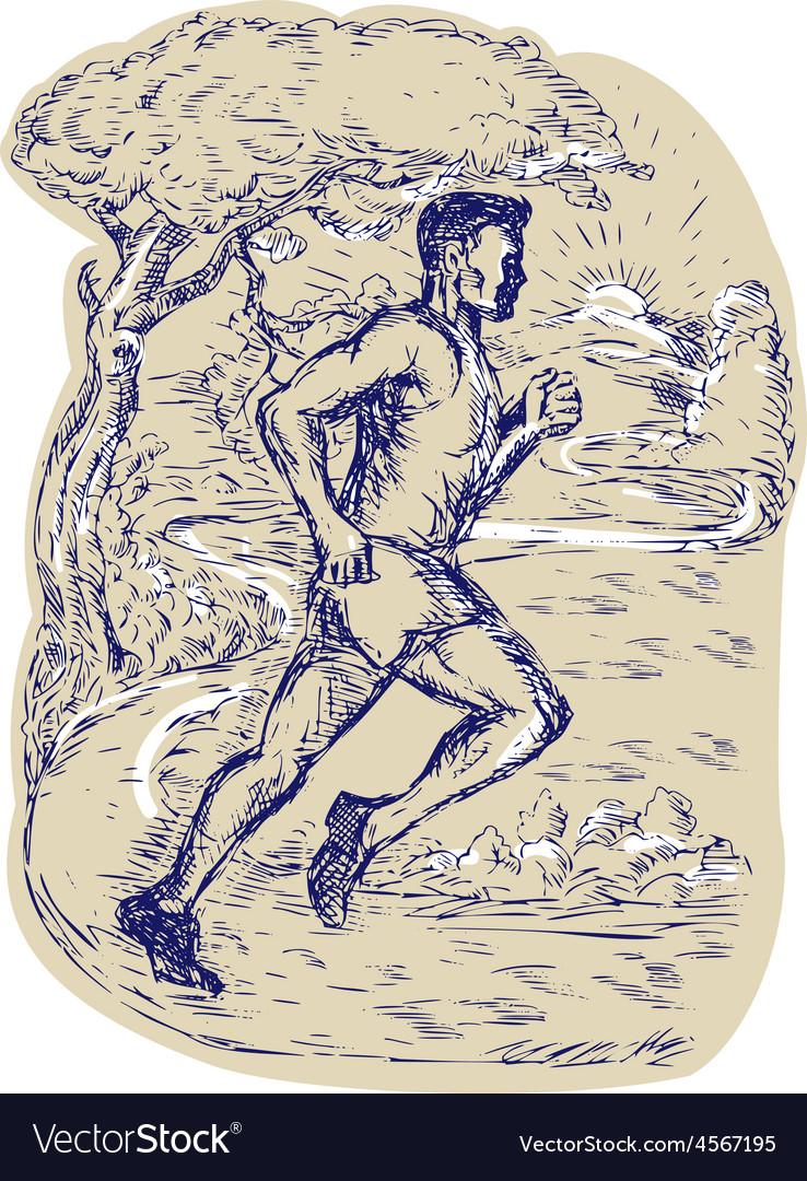 Marathon runner running drawing vector | Price: 1 Credit (USD $1)