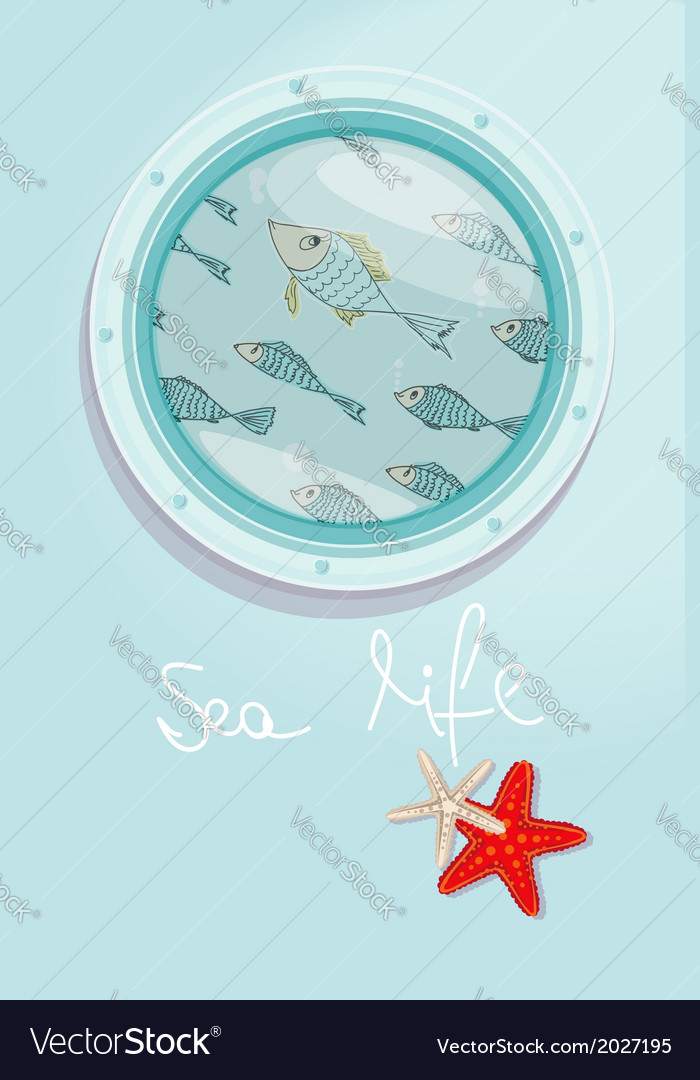 School of fish swimming past a ships porthole vector | Price: 1 Credit (USD $1)