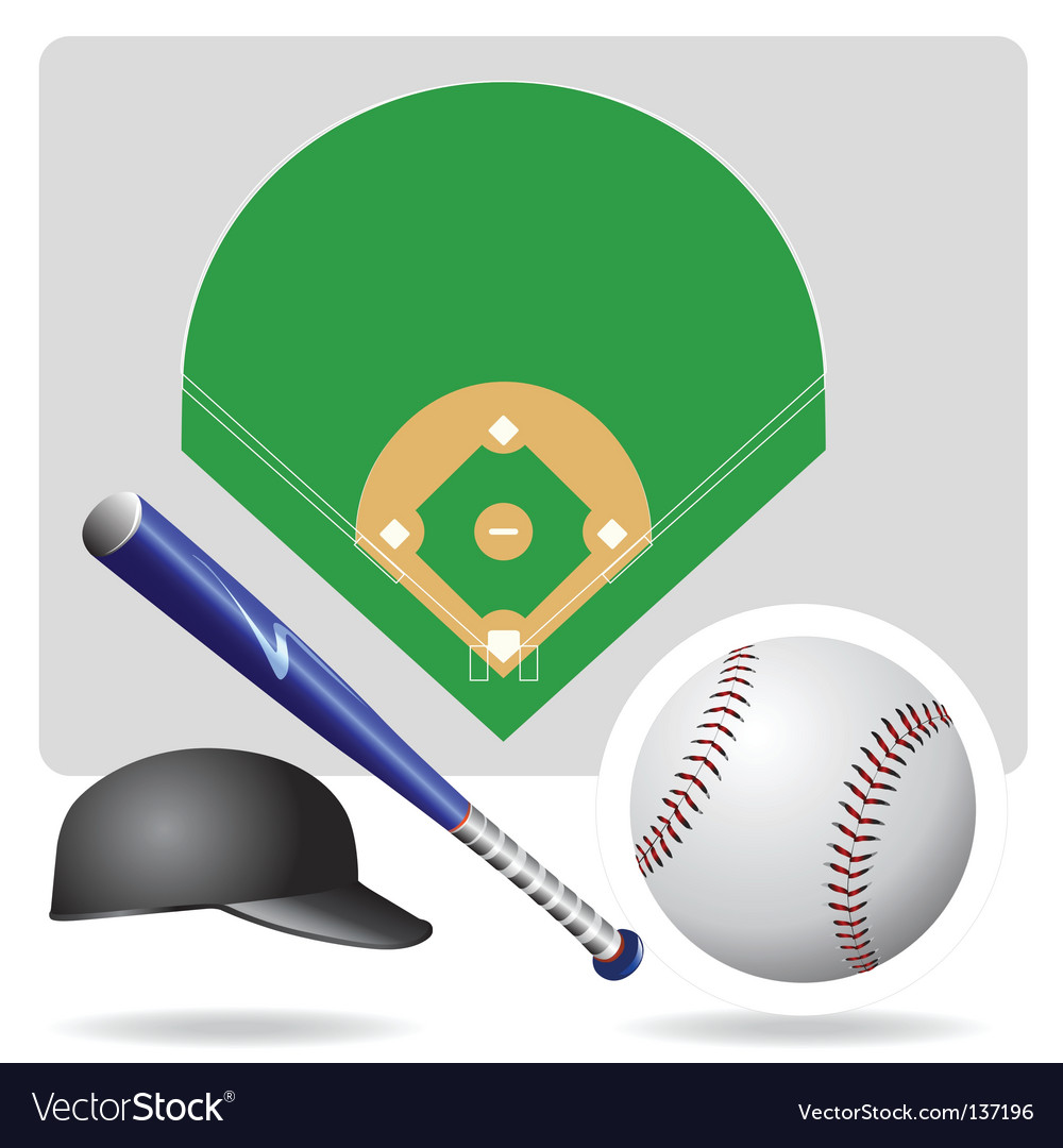Baseball field ball and accessories vector | Price: 1 Credit (USD $1)