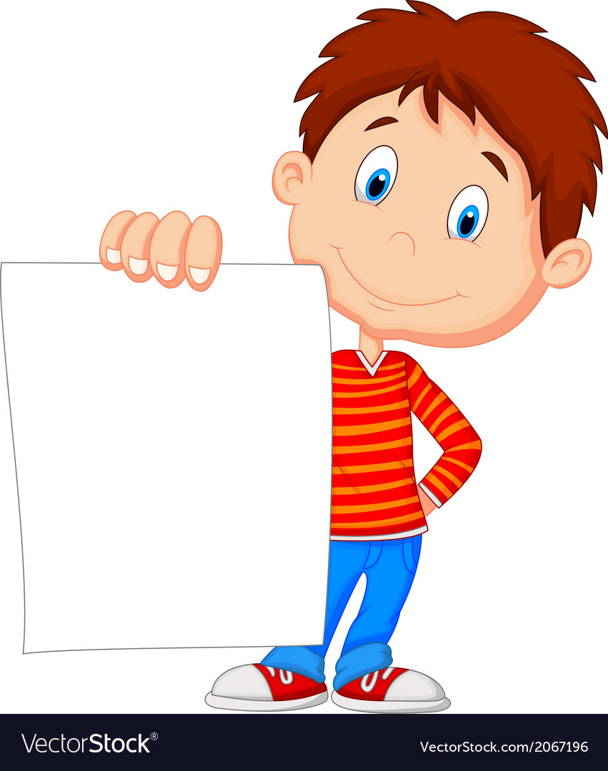 Cartoon boy holding blank paper vector | Price: 1 Credit (USD $1)
