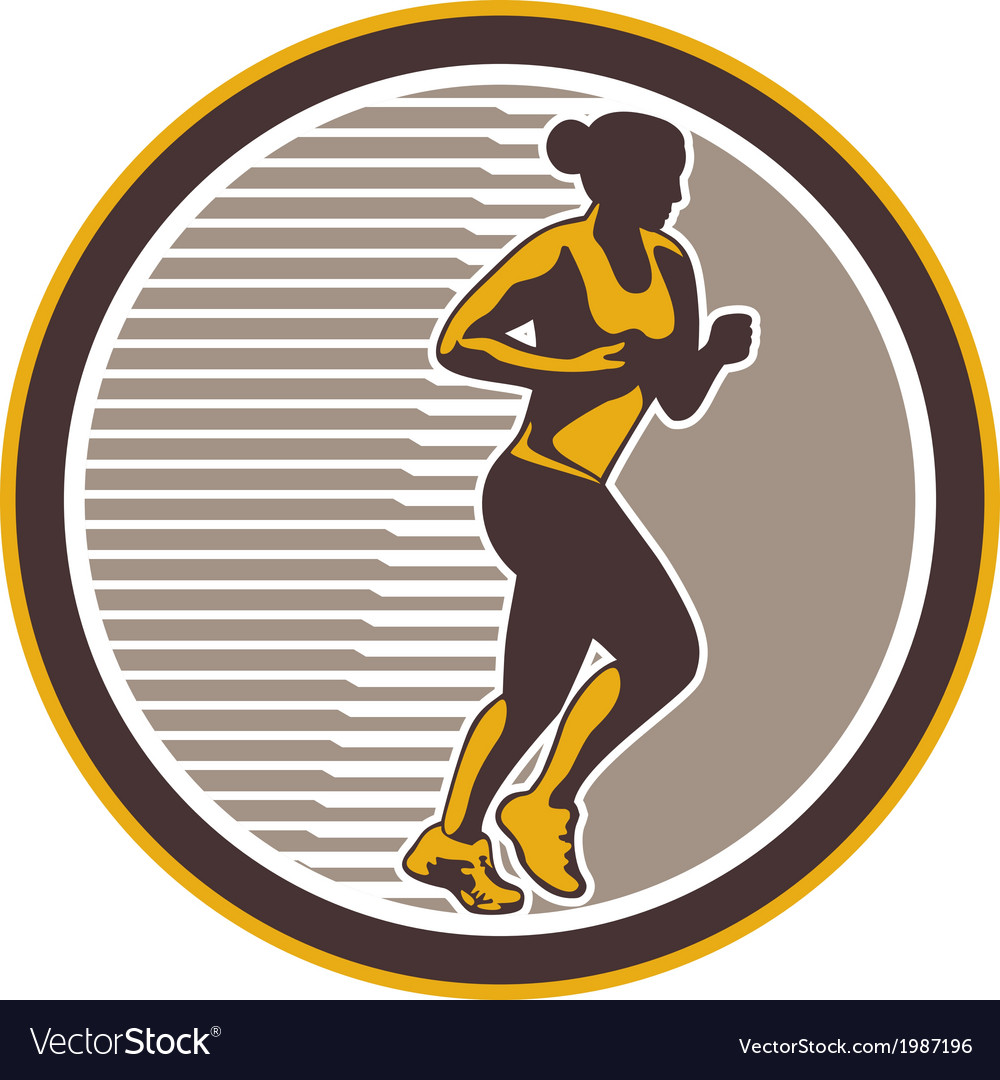 Female marathon runner side view retro vector | Price: 1 Credit (USD $1)