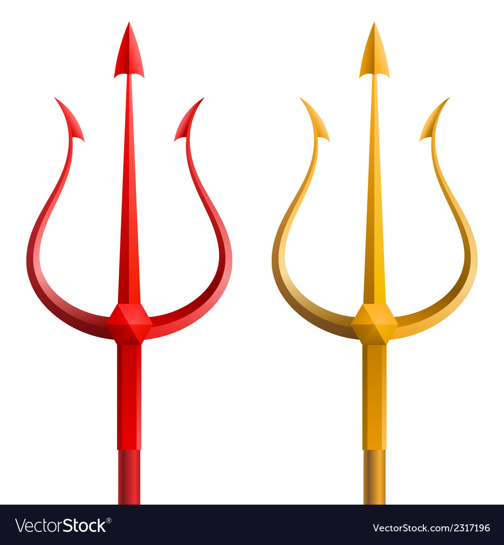 Red and gold trident on a white background vector | Price: 1 Credit (USD $1)