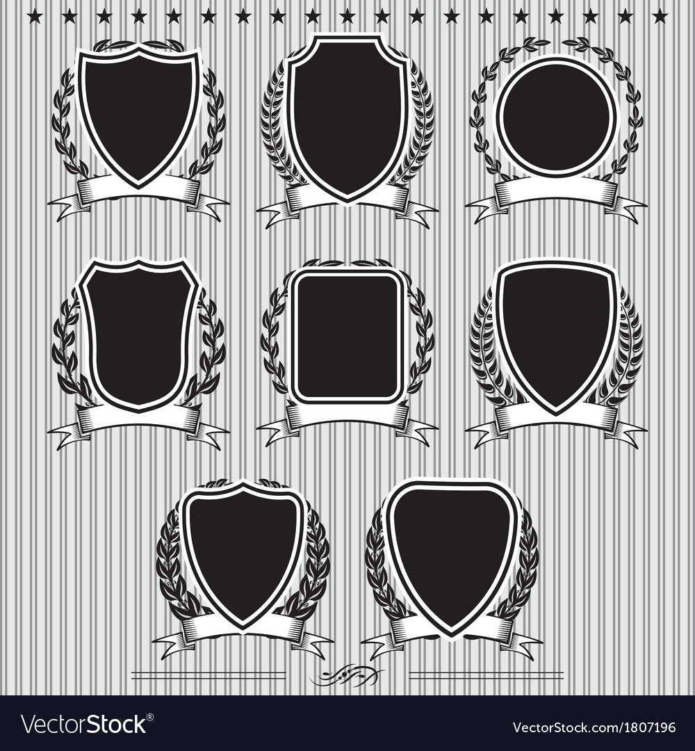 Shields laurel wreaths and ribbons vector | Price: 1 Credit (USD $1)