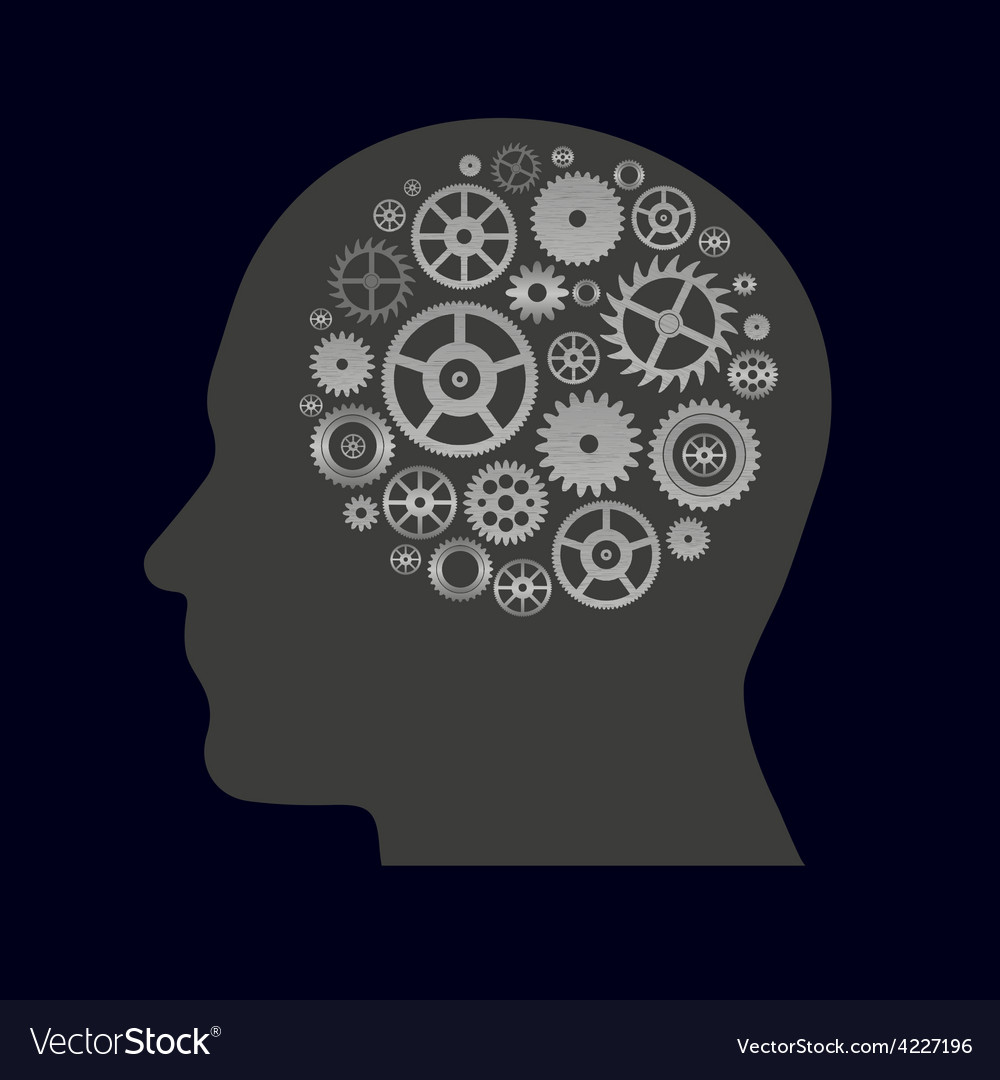 Various cogwheels parts in human head - thinging vector | Price: 1 Credit (USD $1)