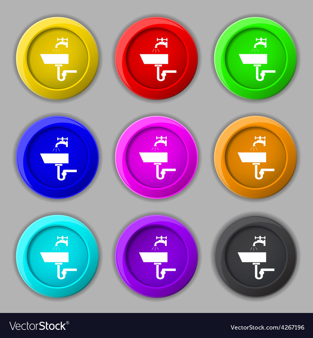 Washbasin icon sign symbol on nine round colourful vector | Price: 1 Credit (USD $1)