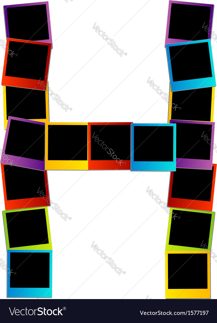 Alphabet h with colorful polaroids vector | Price: 1 Credit (USD $1)