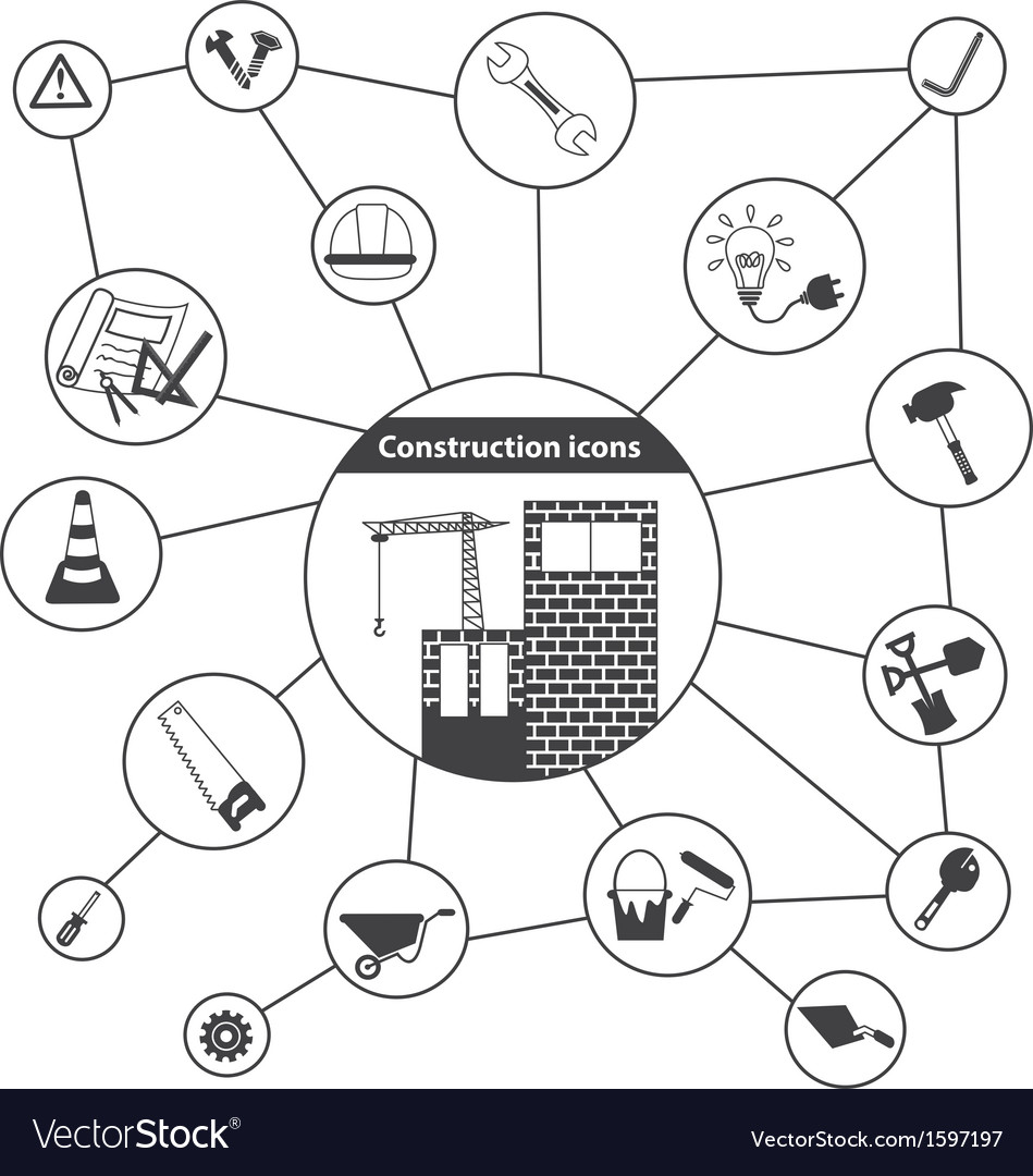 Basic construction icons vector | Price: 1 Credit (USD $1)