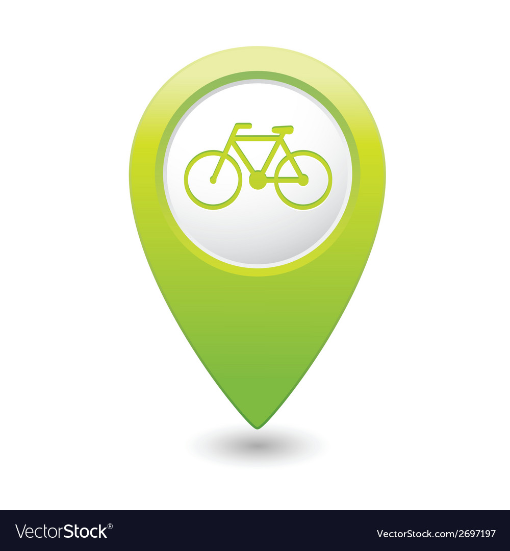 Bicycle icon on map pointer green vector | Price: 1 Credit (USD $1)