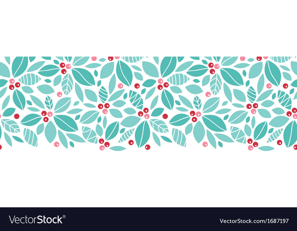 Christmas holly berries horizontal seamless vector | Price: 1 Credit (USD $1)