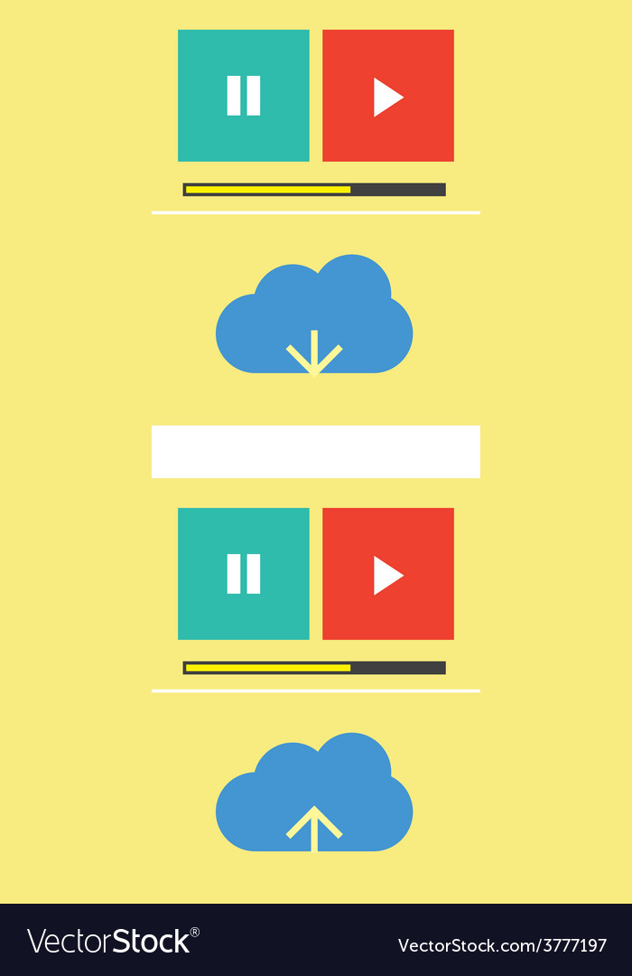 Cloud music download upload vector | Price: 1 Credit (USD $1)
