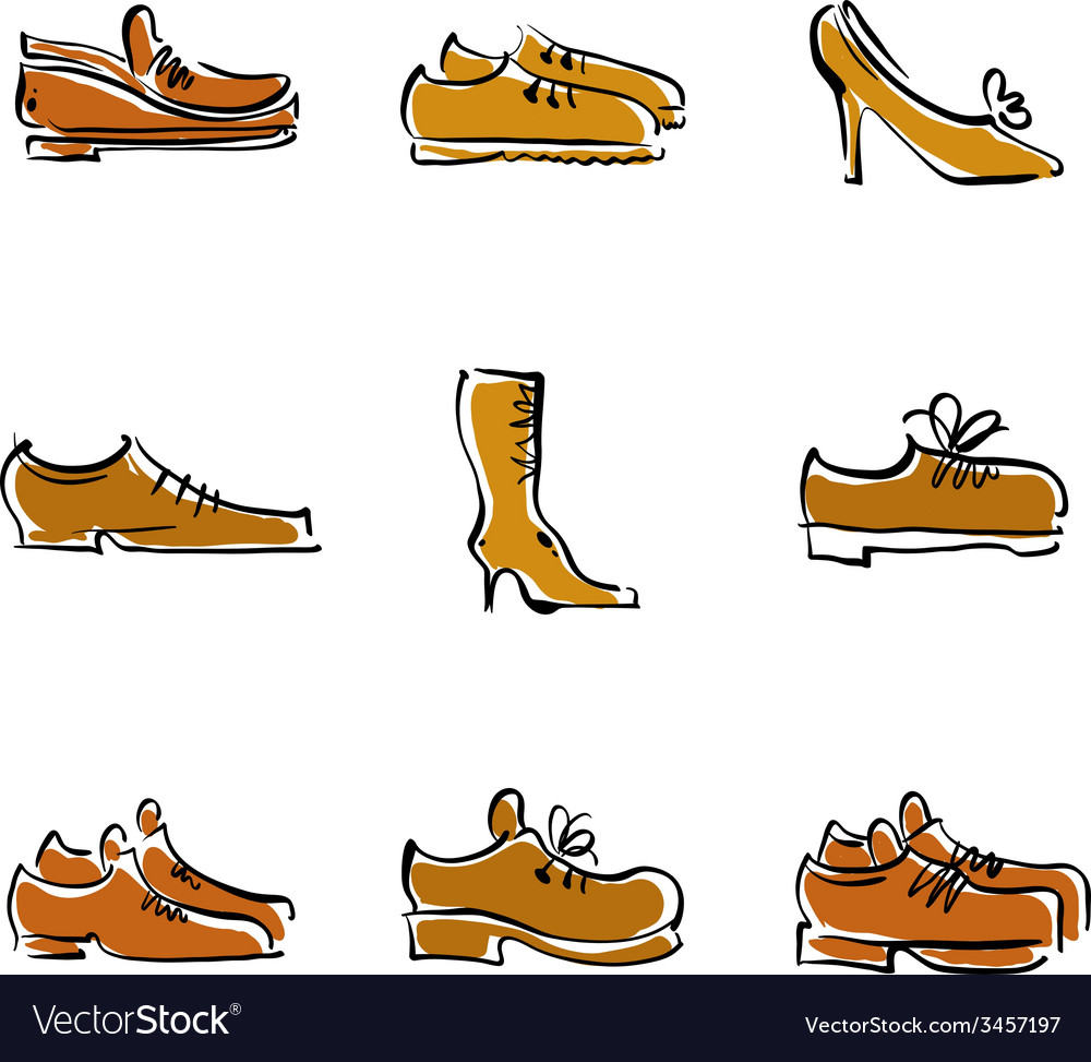Collection of shoes footwear vector | Price: 1 Credit (USD $1)