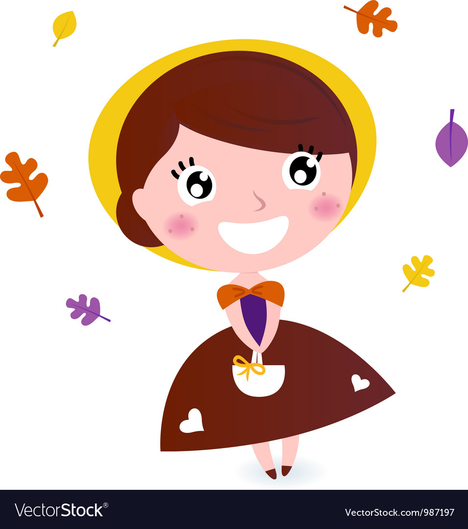 Cute girl with autumn leaves isolated on white vector | Price: 1 Credit (USD $1)