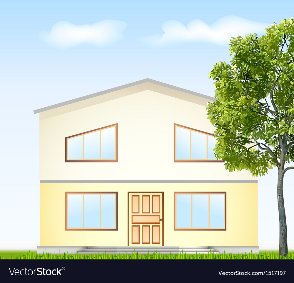 Facade with tree vector | Price: 1 Credit (USD $1)