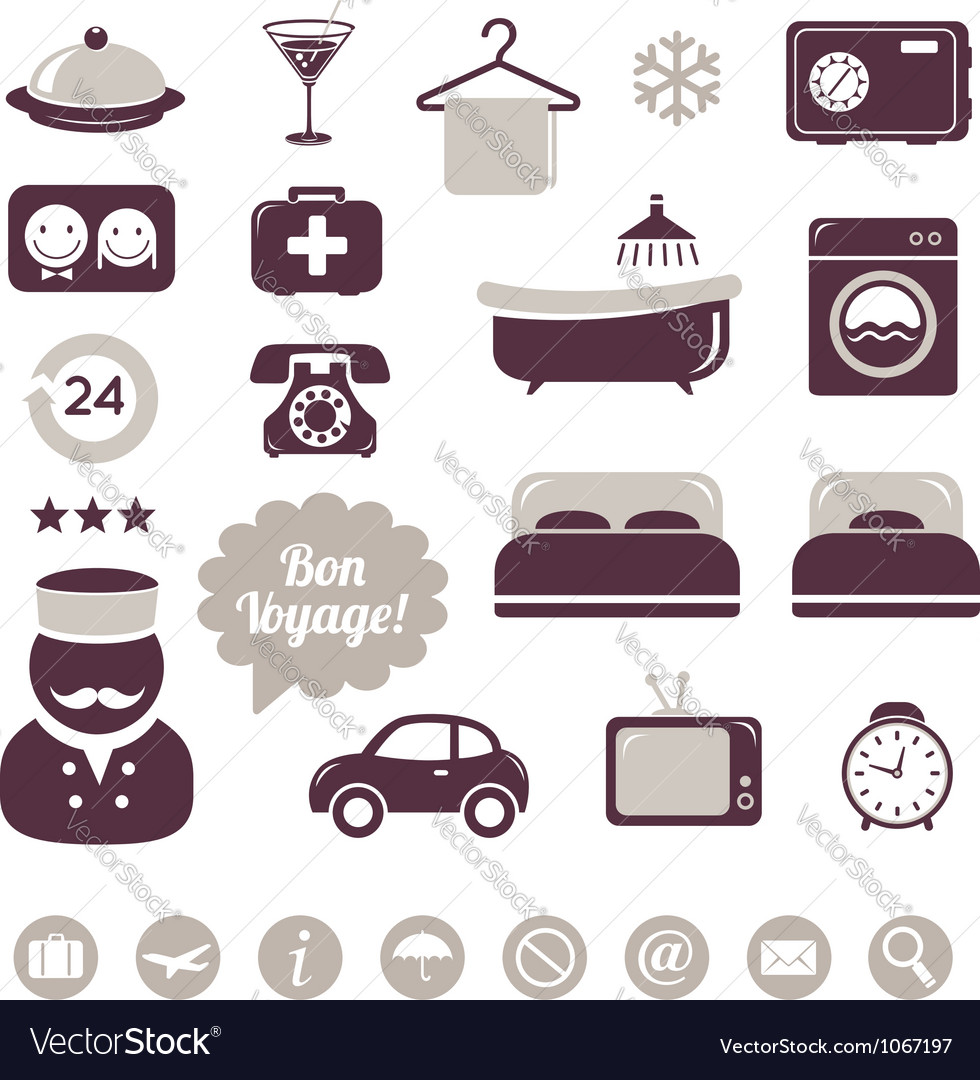 Hotel icons set vector | Price:  Credit (USD $)