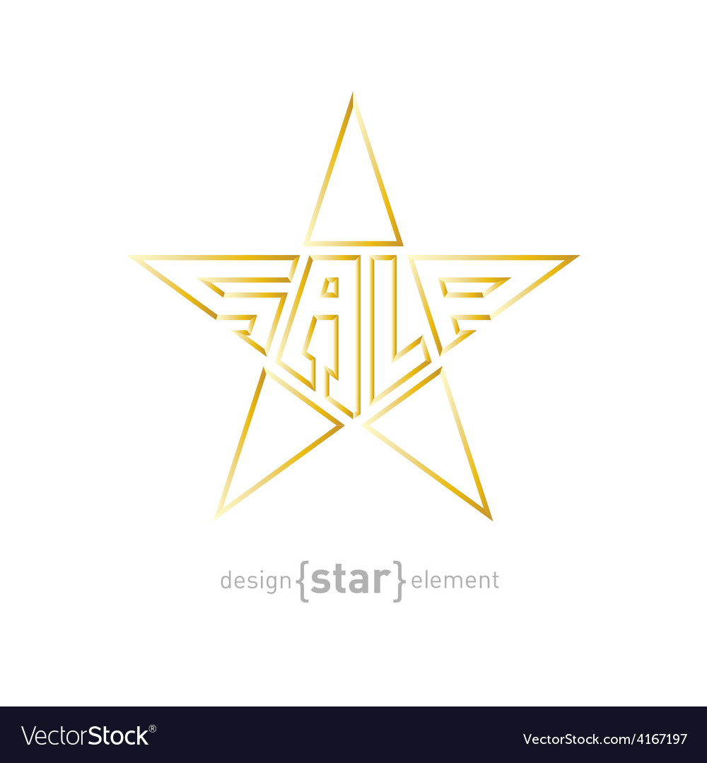 Original gold star with description sale vector | Price: 1 Credit (USD $1)