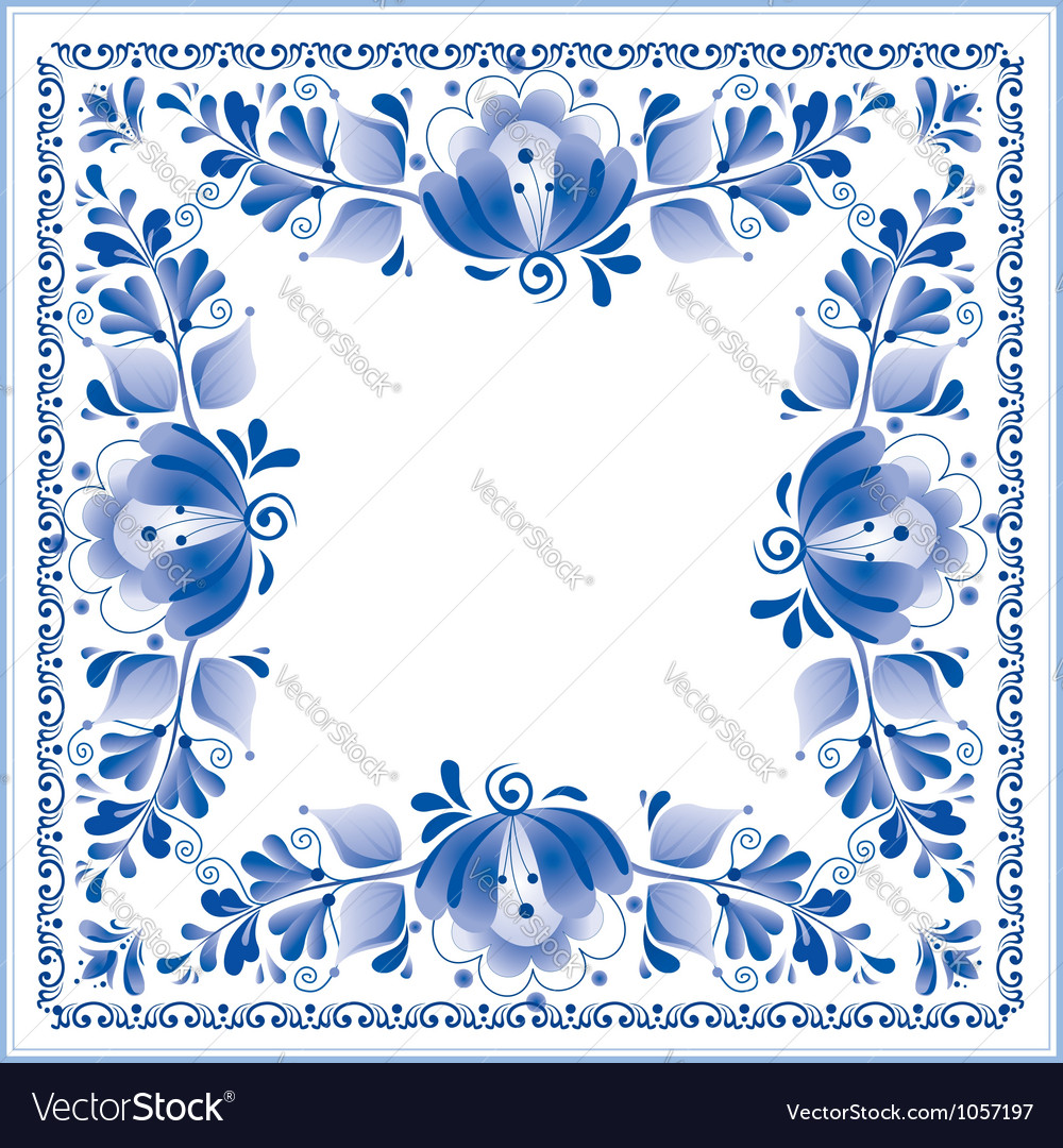 Russian national blue floral pattern vector | Price: 1 Credit (USD $1)