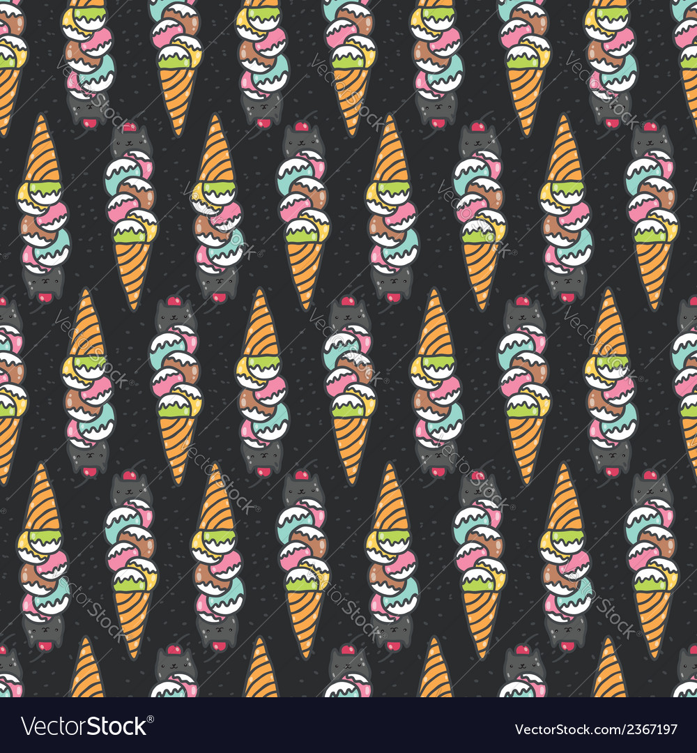Seamless pattern with cute doodle cat ice cream vector | Price: 1 Credit (USD $1)