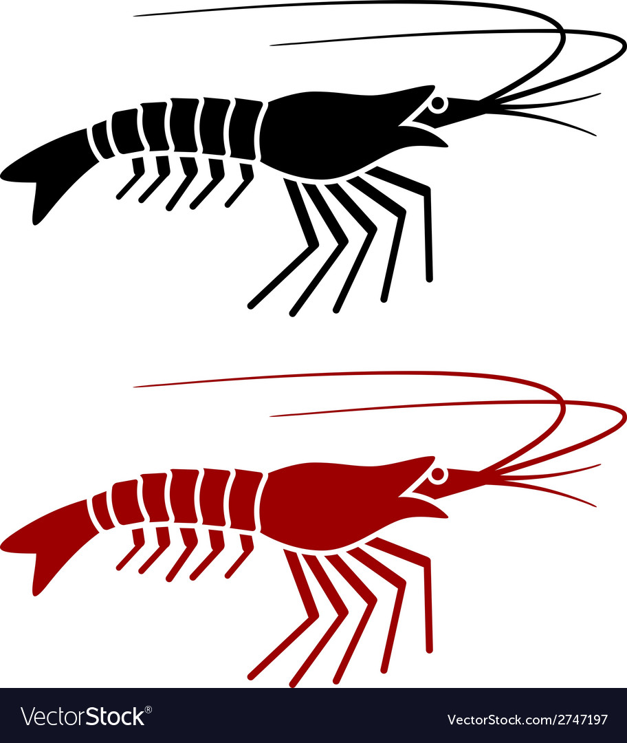 Shrimp silhouette vector | Price: 1 Credit (USD $1)
