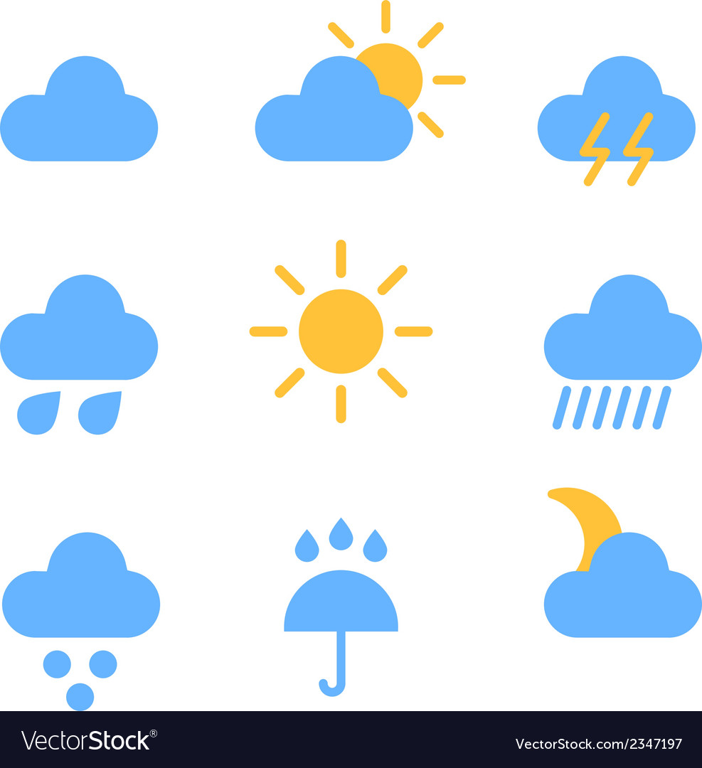 Weather forecast color web icons collection vector | Price: 1 Credit (USD $1)