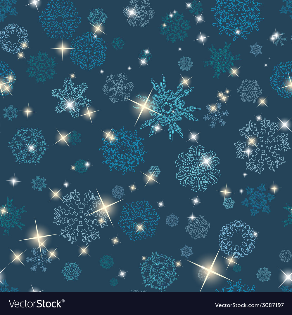 Winter seamless texture with snowflakes vector | Price: 1 Credit (USD $1)