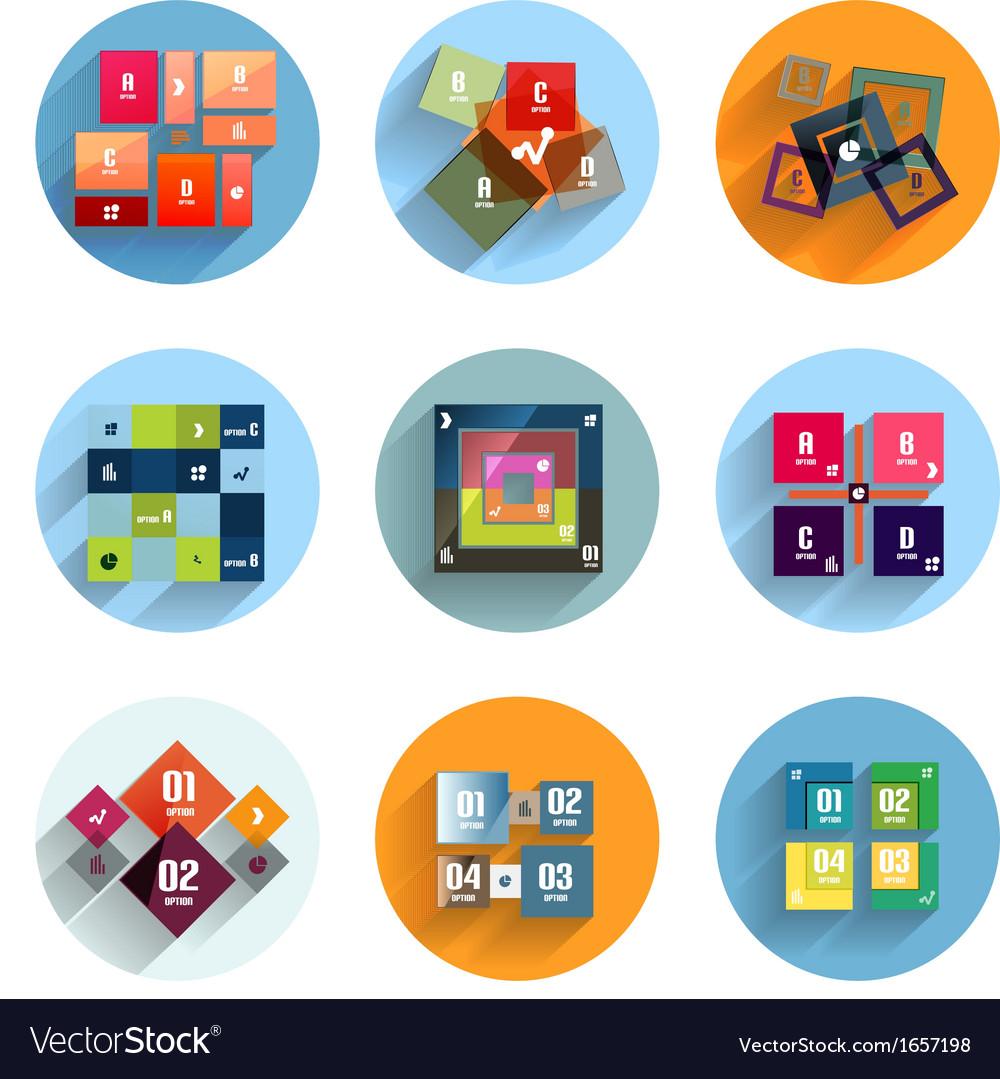 Geometric flat templates icon set vector | Price: 1 Credit (USD $1)