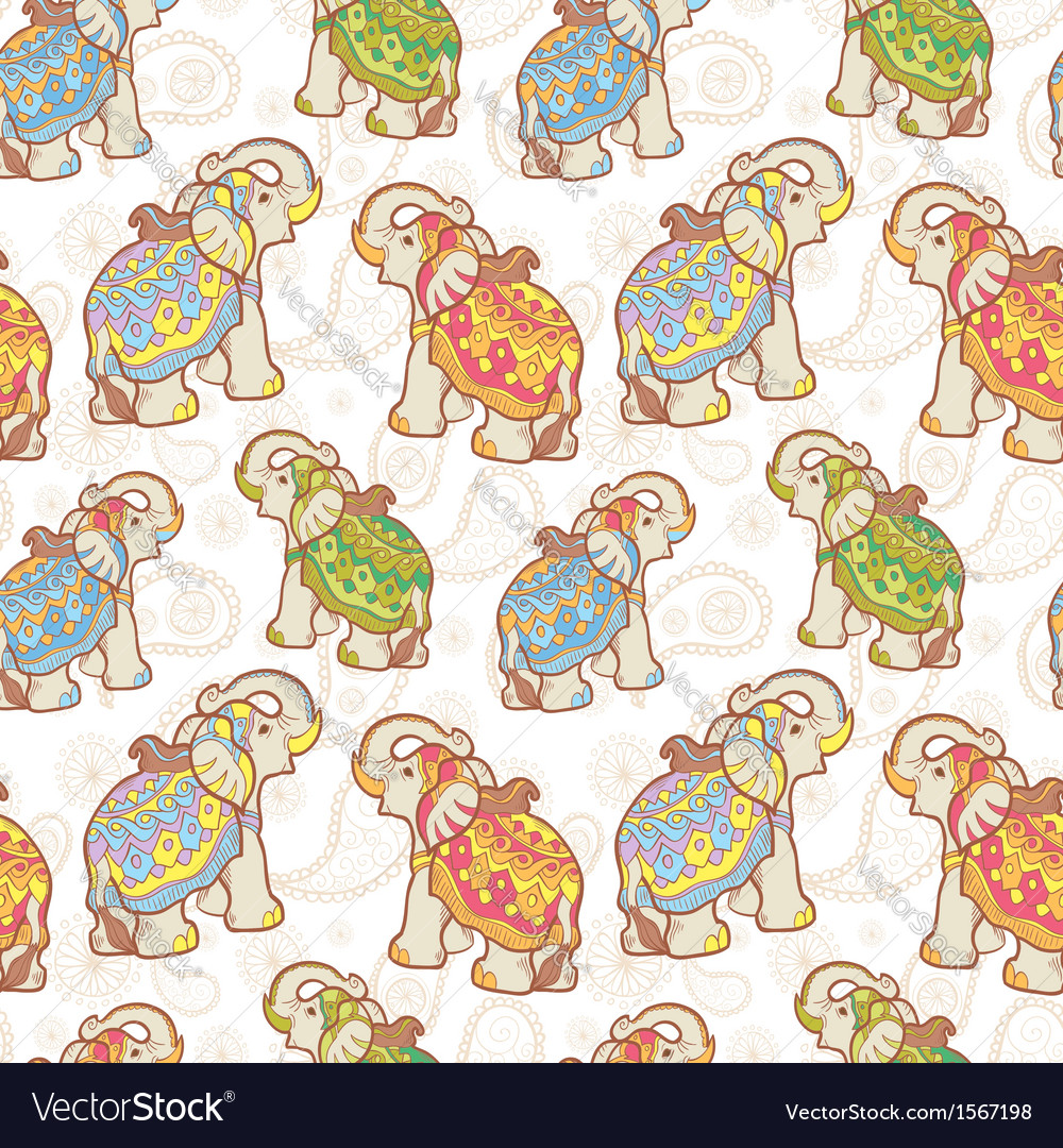 Indian elephant seamless pattern vector | Price: 1 Credit (USD $1)