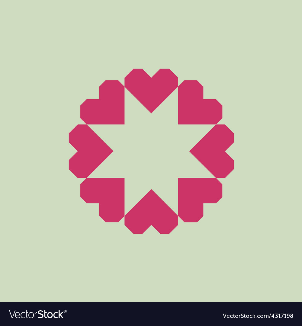 Letter o logo from geometric hearts as a flower vector | Price: 1 Credit (USD $1)