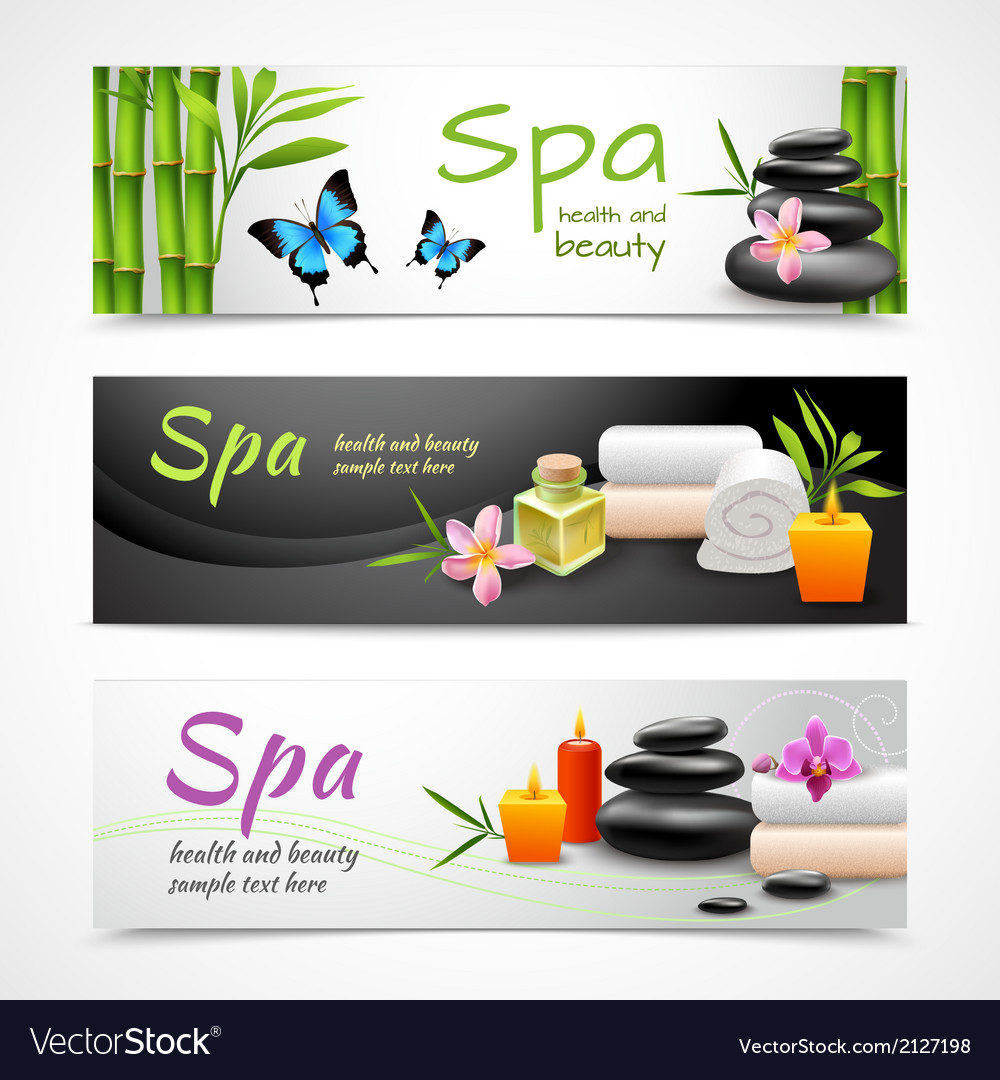 Realistic spa banners vector | Price: 1 Credit (USD $1)