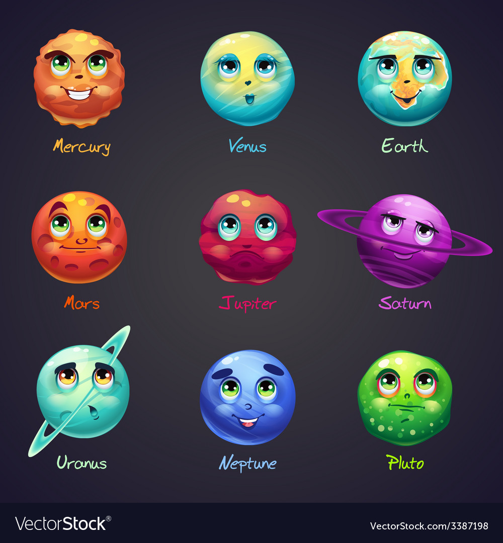 Set of cartoon funny planets of the solar system vector | Price: 1 Credit (USD $1)