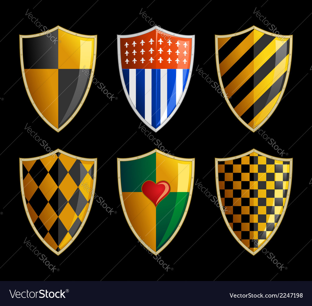 Set of medieval shields vector | Price: 1 Credit (USD $1)