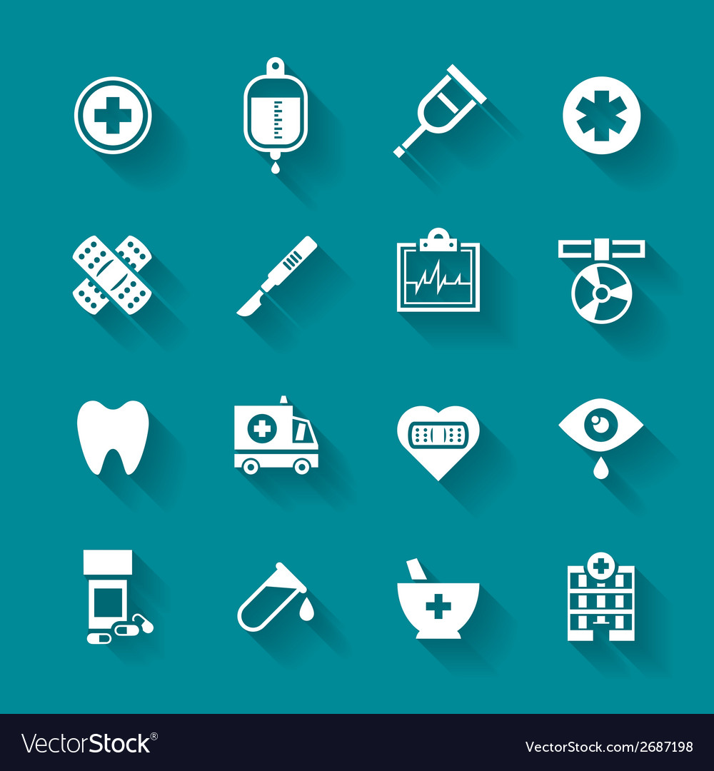 Set of white flat medical icons vector | Price: 1 Credit (USD $1)