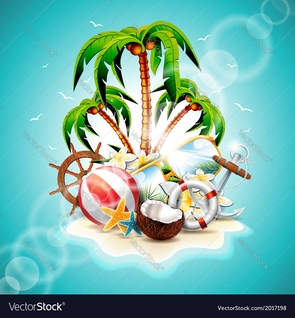Summer holiday with paradise island vector | Price: 3 Credit (USD $3)