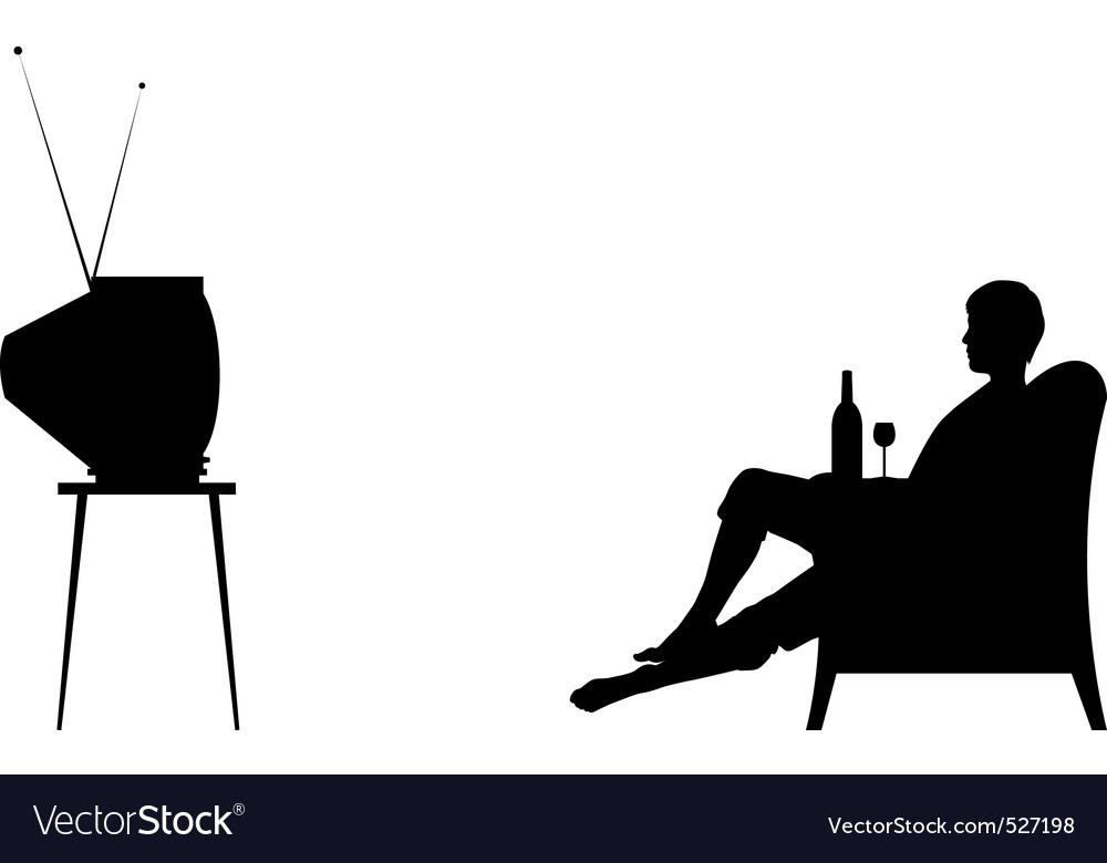 Watching tv vector