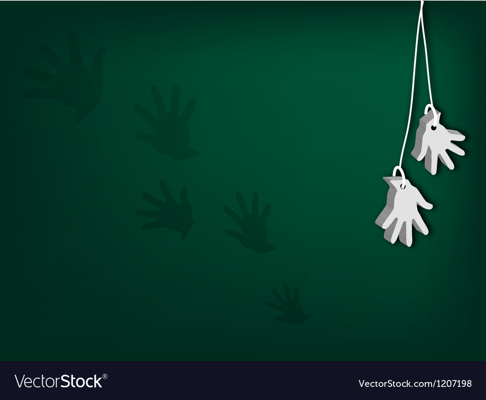 White artificial hands hanging on green background vector | Price: 1 Credit (USD $1)