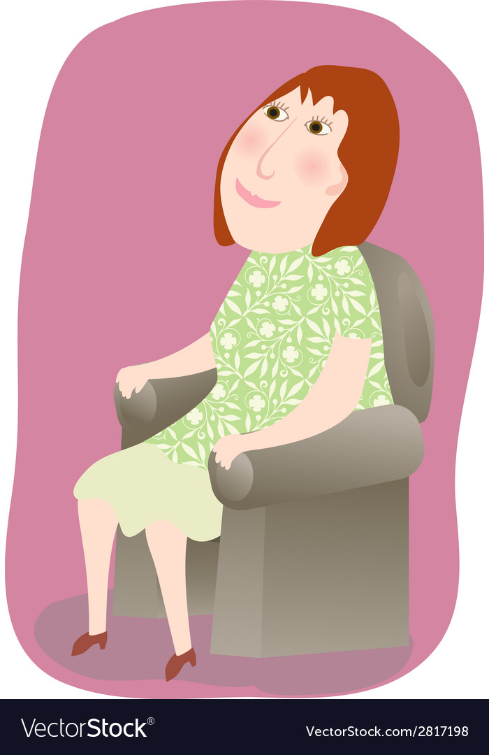 Woman sitting in a chair vector | Price: 1 Credit (USD $1)