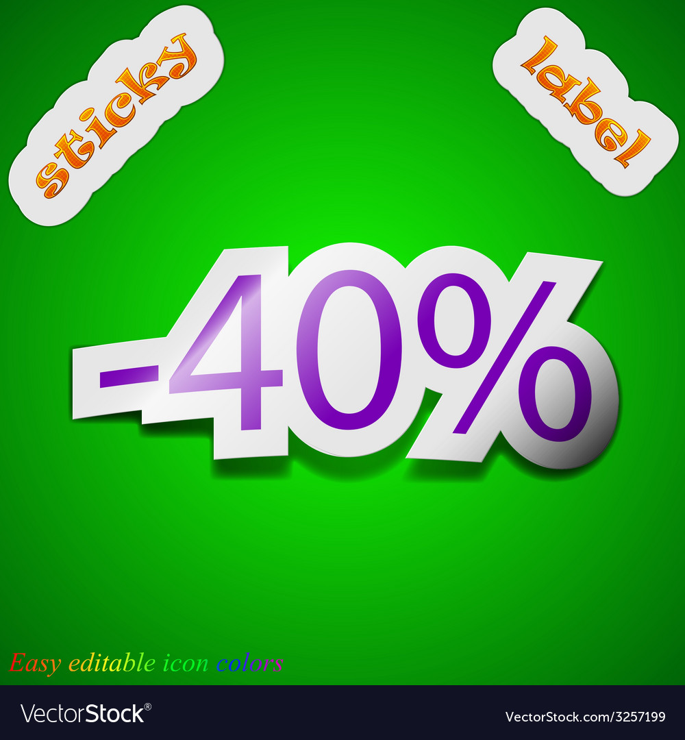 40 percent discount icon sign symbol chic colored vector | Price: 1 Credit (USD $1)