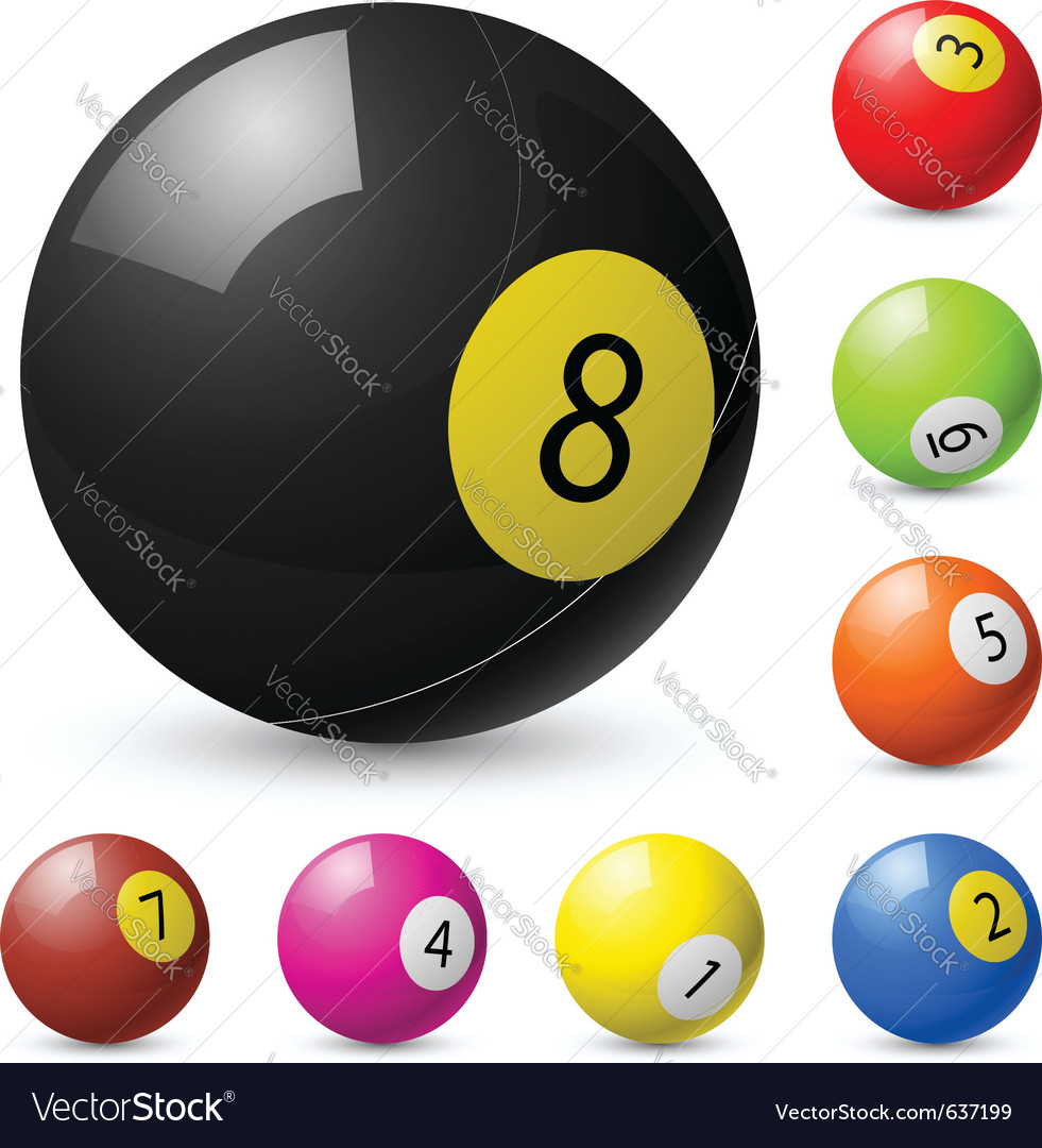 Billiard balls out of american billiards vector | Price: 1 Credit (USD $1)