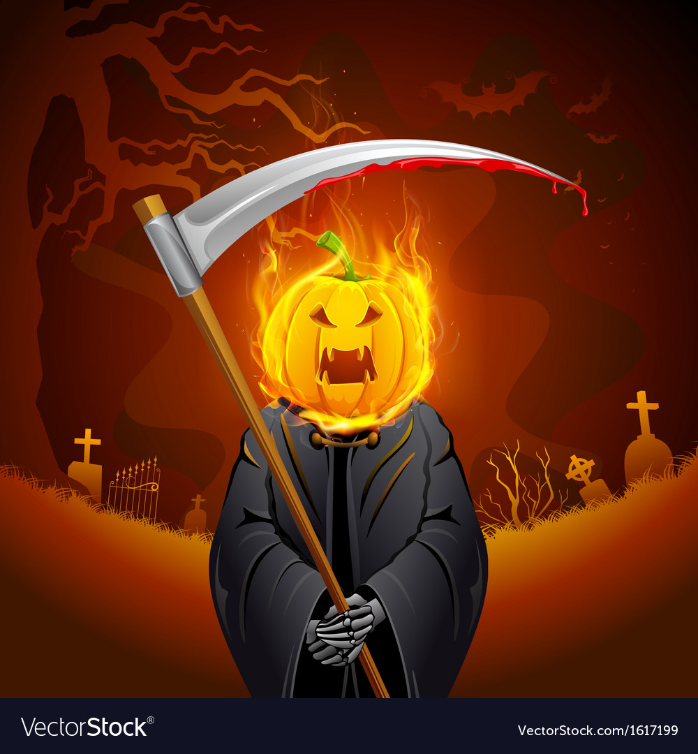 Burning halloween grim vector | Price: 3 Credit (USD $3)